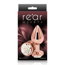 Rear Assets Rose Anal Plug - Medium - White
