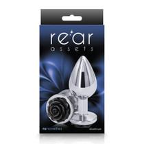Rear Assets Rose Anal Plug - Medium - Black