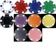 STRIPED DICE 11.5GM 1000 BULK POKER CHIPS  - CHOOSE CHIPS!