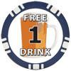 1 FREE DRINK Poker Chip Button/Marker