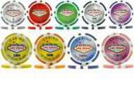50 LAS VEGAS CASINO 15gm LASER CLAY Poker Chips