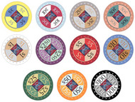 Casino Chipco Protech Ceramic 10gm Poker Chips - 11 Chip Sample Set!