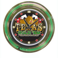 Deluxe Texas Holdem Poker Themed Neon Wall Clock - Large 14 Inch Diameter!