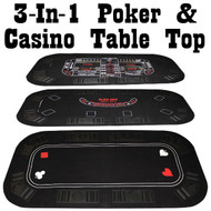 Deluxe 3 in 1 Poker/Craps/Blackjack Tri Fold Table Top -  3 Games in 1!
