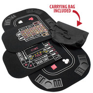 Premium 5 in 1 Tri Fold Table Top -  Includes Poker, Blackjack, Craps, Roulette and Baccarat