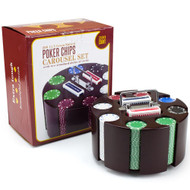 Deluxe Wooden Carousel Poker Chip Set - 200 Suited 11.5gm Poker Chips Included!