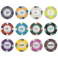 Poker Knights 13.5gm Composite Clay Poker Chip Sample Set - 12 Different Chips!