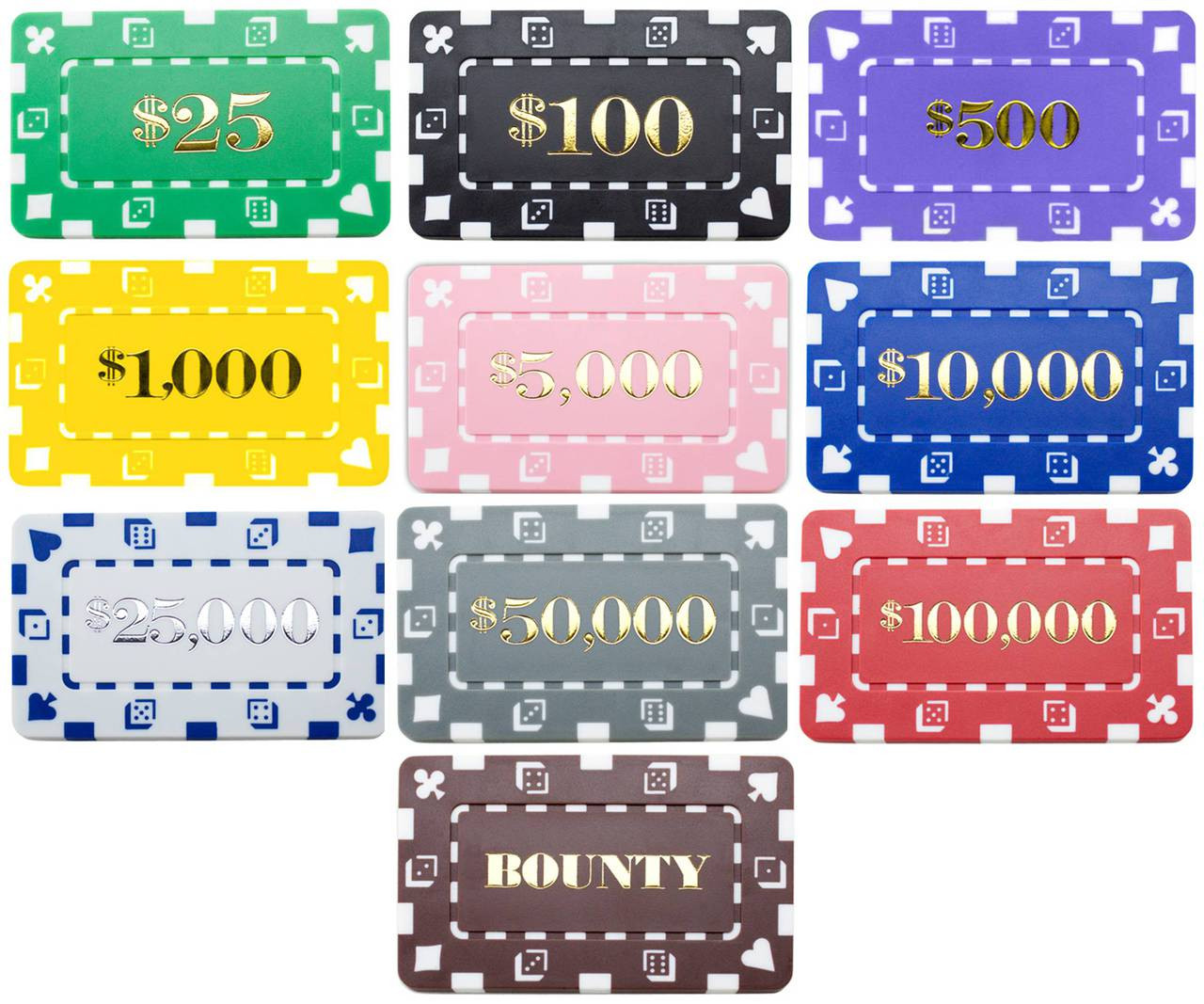25 Rectangular Denominated Poker Chip Plaques Choose Values