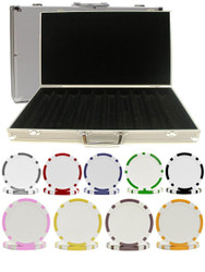 1000PC 8-STRIPE DUAL COLOR 11.5GM POKER CHIP SET WITH ALUMINUM CASE
