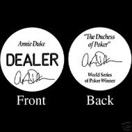 ANNIE DUKE PROFESSIONAL COLLECTOR'S DEALER BUTTON