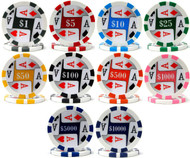 50 FOUR (4) ACES PREMIUM Poker Chips - NEW!