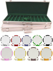 500PC 8-STRIPE DUAL COLOR 11.5gm Poker Chip Set with Aluminum Case