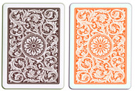 COPAG 1546 ORANGE & BROWN 100% Plastic Cards - 2 Decks