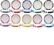50 8-STRIPE 14gm Clay Blank Poker Chips - Choose Color!