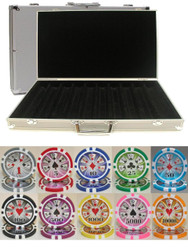 HIGH ROLLER LASER 1000 CHIP 14g CLAY POKER SETwith Aluminum Case