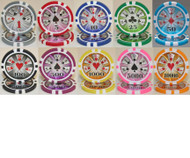 50 HIGH ROLLER LASER 14gm Poker Chips - CHOOSE!