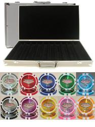 LAS VEGAS CASINO LASER 14GM 1000 CHIP CLAY POKER SET with Aluminum Case
