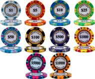 25 MONTE CARLO CASINO 14gm CLAY Poker Chips - CHOOSE!