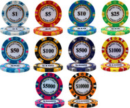 50 MONTE CARLO CASINO 14gm CLAY Poker Chips - CHOOSE!