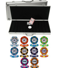MONTE CARLO 14gm 500 Chip CLAY Poker Set with Aluminum Case