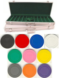 500PC CLASSIC DIAMOND 9GM CLAY POKER CHIP SET WITH ALUMINUM CASE
