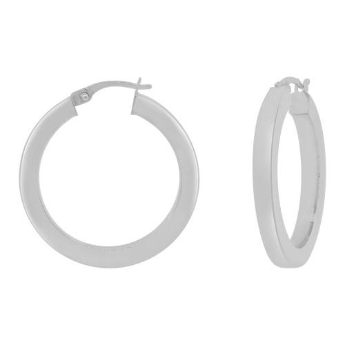 14k Gold White Rhodium, 3mm Square Hollow Tube Circular Hoop Earring 20mm Inner Diameter (E062-051)