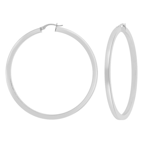 14k Gold White Rhodium, 3mm Square Hollow Tube Circular Hoop Earring 55mm Inner Diameter (E062-054)