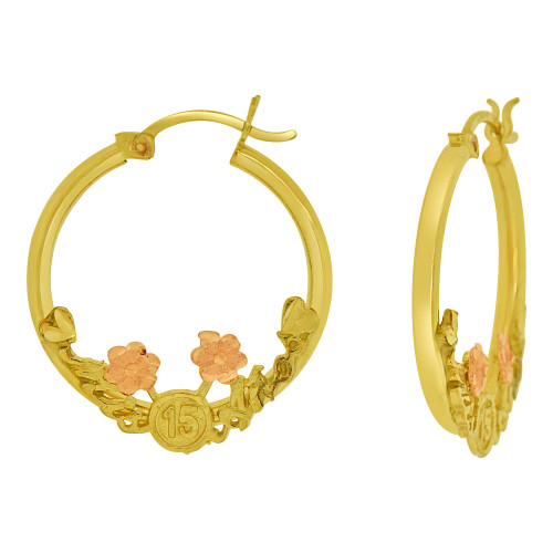 14k Yellow & Rose Gold, Mis 15 Anos Quinceanera Hollow Tube Hoop Earring 20mm Inner Diameter (E065-001)