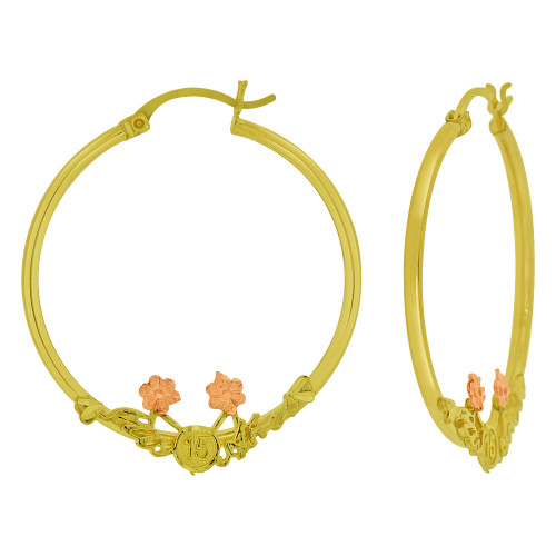 14k Yellow & Rose Gold, Mis 15 Anos Quinceanera Hollow Tube Hoop Earring 35mm Inner Diameter (E065-003)