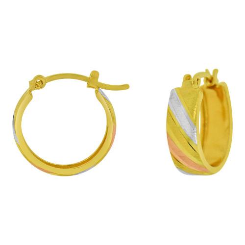 14k Yellow Gold, Rose & White Rhodium Hoop Earring Sparkly 12mm Inner Diameter (E065-021)