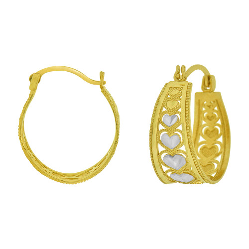 14k Yellow Gold, Filigree Heart Sparkly Tapered Hoop Earring 17mm Inner Diameter (E066-017)