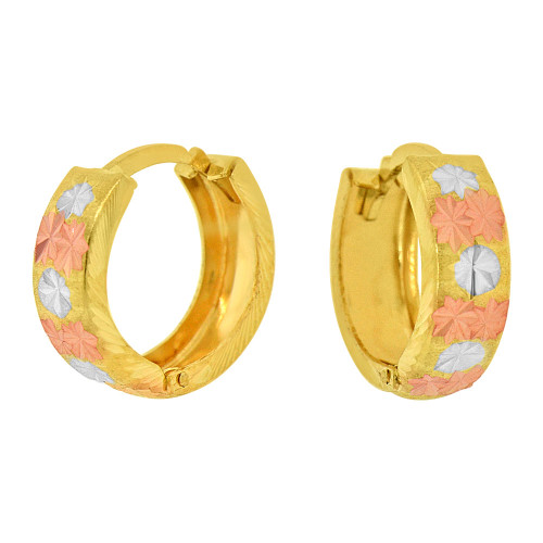14k Yellow Gold Rose & White Rhodium, 5mm Wide Concave Huggies Hoop Earring 10mm Inner Diameter (E070-023)
