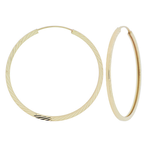 14k Yellow Gold, Slash Sparkle Sides Classic Square Hollow Tube Hoop Earring (E071-010)
