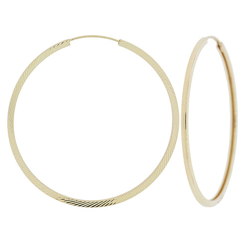 14k Yellow Gold, Slash Sparkle Sides Classic Square Hollow Tube Hoop Earring (E071-011)
