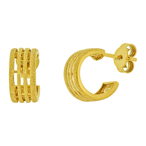 14k Yellow Gold, Sparkly Polish 6mm Wide Small Hoop Stud Earring 8mm Inner Diameter (E073-008)