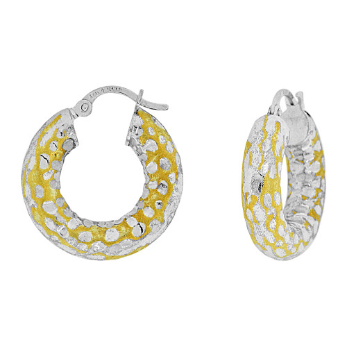 14k Yellow Gold White Rhodium, Fancy Hammered Hollow Tube Hoop Earring Sparkly Cuts (E074-009)
