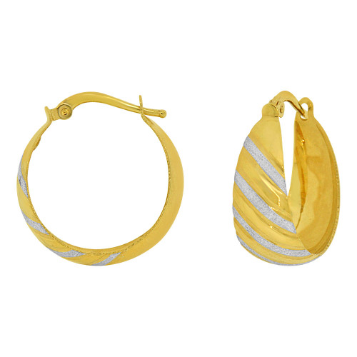 14k Yellow Gold White Rhodium, Fancy Tapered Concave Hoop Earring Chevron Designs (E074-011)