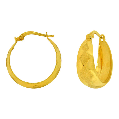 14k Yellow Gold, Fancy Tapered Concave Hoop Earring Sparkly Cut Designs (E074-012)