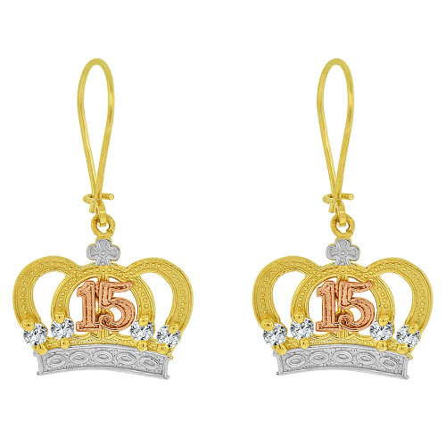 14k Tricolor Gold, 15 Anos Quinceanera Crown Tiara Dangling Drop Fancy Earring Created CZ Crystals (E074-021)