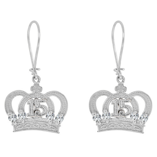 14k Gold White Rhodium, 15 Anos Quinceanera Tiara Dangling Drop Fancy Earring Created CZ Crystals (E074-071)