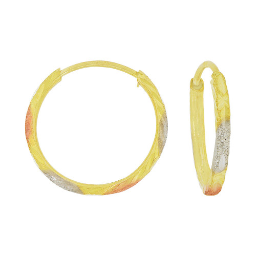 14k Yellow Gold Rose & White Rhodium, Fancy Engraved Hollow Tube Hoop Earring 13mm Inner Diameter (E076-021)