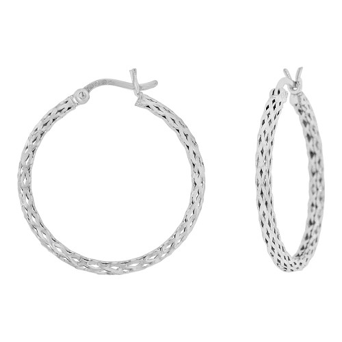 14k Gold White Rhodium, Sparkly Hollow 2mm Mesh Tube Hoop Earring 20mm Inner Diameter (E077-015)