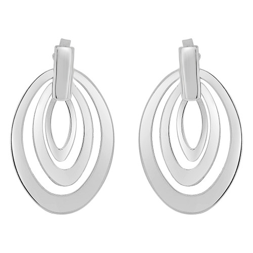 14k Gold White Rhodium, Fancy Modern Abstract Oval Design Dangling Earring Push Backing (E077-018)