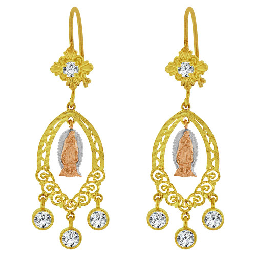 14k Tricolor Gold, Fancy Filigree Virgin Design Chandelier Drop Earring Created CZ Crystals (E078-014)