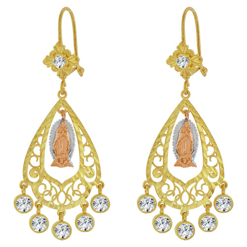 14k Tricolor Gold, Fancy Filigree Virgin Design Chandelier Drop Earring Created CZ Crystals (E078-015)