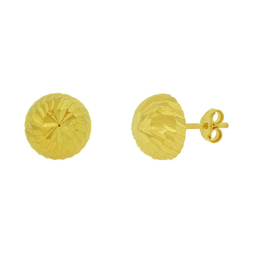 14k Yellow Gold, Half Dome Facetted Stud Round 8mm Wide Stud Earring (E078-027)