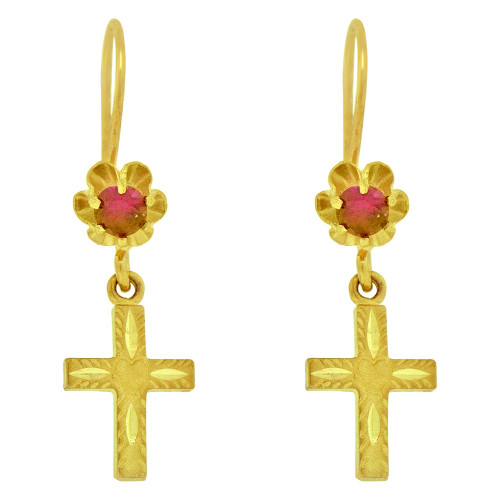 14k Yellow Gold, Religious Cross Dangling Drop Earring Red Created CZ Crystals (E078-061)