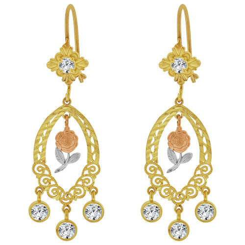 14k Tricolor Gold, Fancy Filigree Rose Flower Chandelier Drop Earring Created CZ Crystals (E078-064)