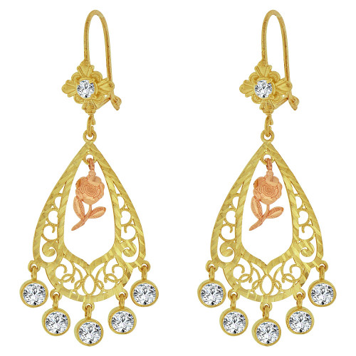 14k Tricolor Gold, Fancy Filigree Rose Flower Chandelier Drop Earring Created CZ Crystals (E078-065)