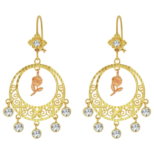 14k Tricolor Gold, Fancy Filigree Rose Flower Chandelier Drop Earring Created CZ Crystals (E078-066)